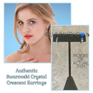 Swarovski Crystal Crescent Earrings Authentic
